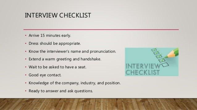 Interview 10 interview checklist arrive m4hsunfo