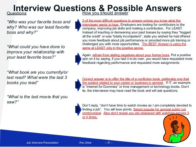 Interview Questions U0026 Possible AnswersQuestions How You Should Answeru201cWho  Was Your Favorite Boss ...