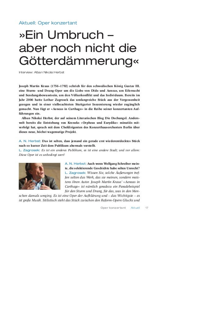 Aktuell: Oper konzertant»Ein Umbruch –aber noch nicht dieGötterdämmerung«Interview: Alban Nikolai HerbstJoseph Martin Krau...