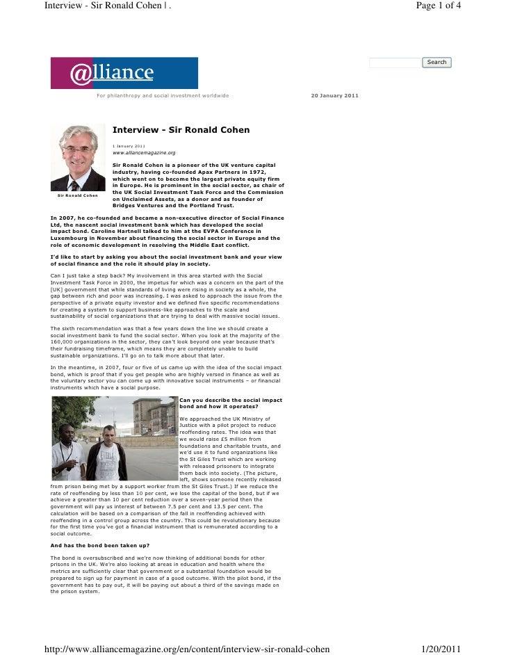 Interview - Sir Ronald Cohen