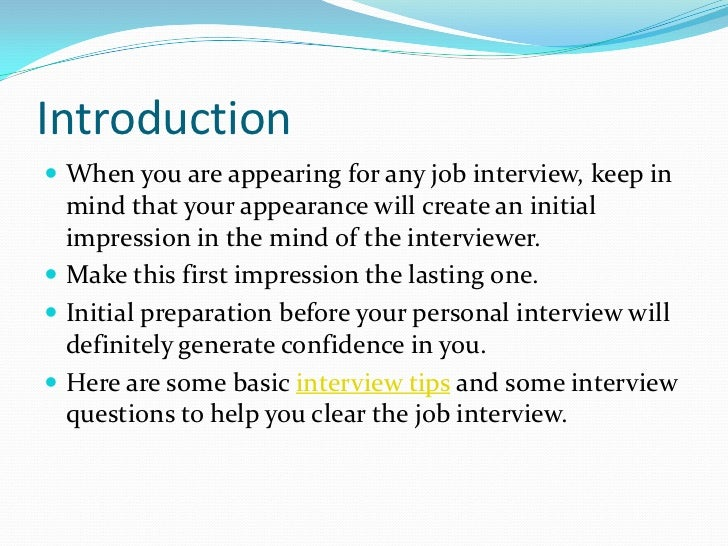 SlideShare  First Interview Tips