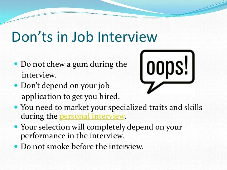 donts in job interview do