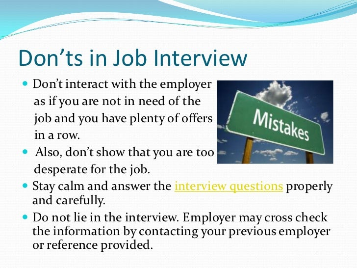 donts in job interview