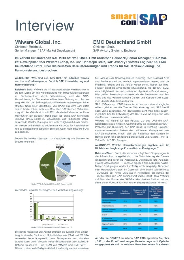 Interview VMware Global, Inc.  EMC Deutschland GmbH  Christoph Reisbeck, Senior Manager / SAP Market Development  Christop...
