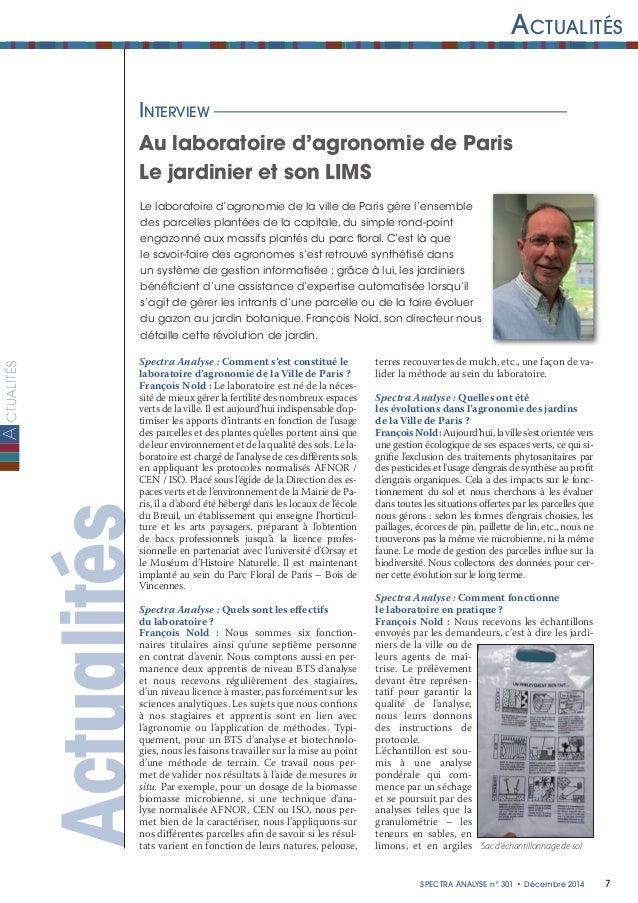 ctualités 7Spectra ANALYSE n°301 • Décembre 2014 Actualités A ActualitésInterview Au laboratoire d'agronomie de Paris Le ...