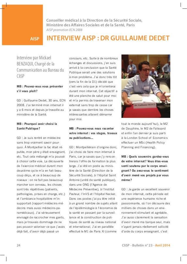 AISP Conseiller médical à la Direction de la Sécurité Sociale, Ministère des Affaires Sociales et de la Santé, Paris AISP ...