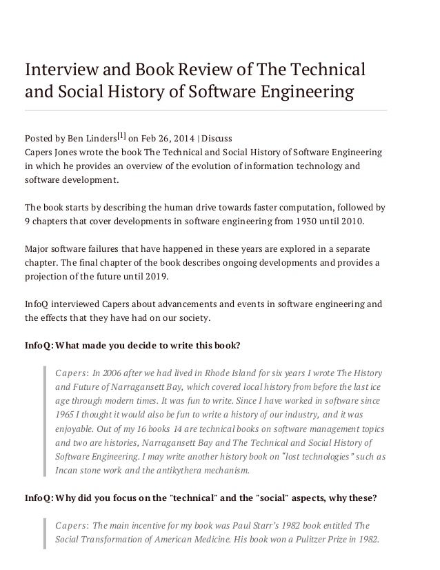 Interview and Book Review of The Technical and Social History of Software Engineering Posted by Ben Linders[1] on Feb 26, ...