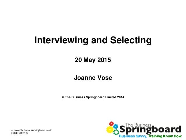 Interviewing and Selection Webinar Slides