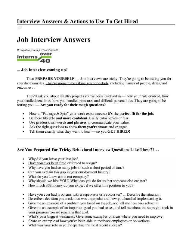 Interview Answers U0026 Actions To Use To Get Hired Job Interview Answers  Brought To You In ...