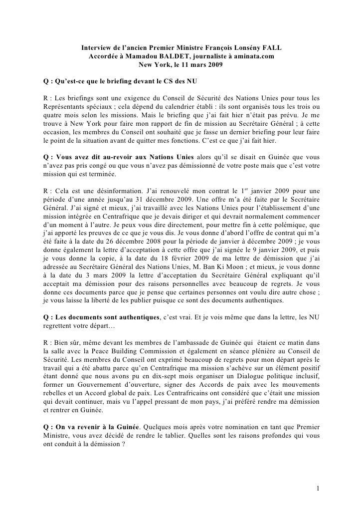 Interview de l'ancien Premier Ministre François Lonsény FALL                Accordée à Mamadou BALDET, journaliste à amina...