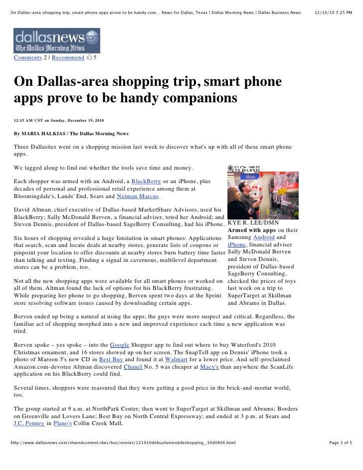 On Dallas-area shopping trip, smart phone apps prove to be handy com… News for Dallas, Texas | Dallas Morning News | Dalla...