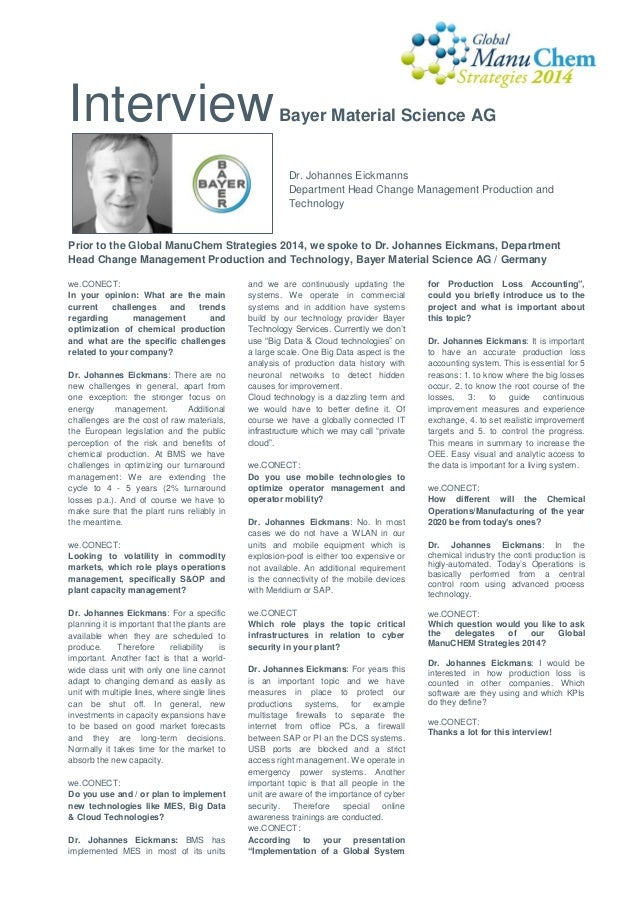 Interview  Bayer Material Science AG  Dr. Johannes Eickmanns Department Head Change Management Production and Technology  ...