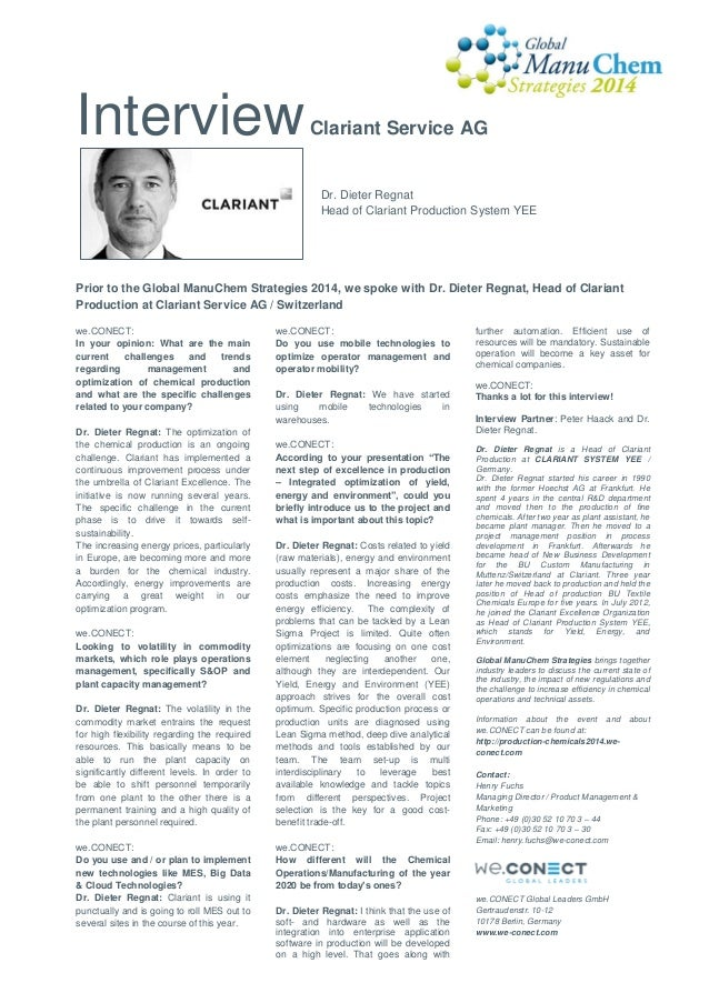 Interview  Clariant Service AG  Dr. Dieter Regnat Head of Clariant Production System YEE  Prior to the Global ManuChem Str...