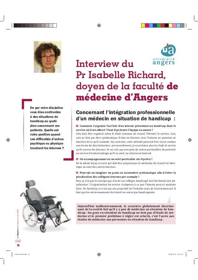 Le Magazine des internes et de l'ISNIH  12  Interview du  Pr Isabelle Richard,  doyen de la faculté de  médecine d'Angers ...