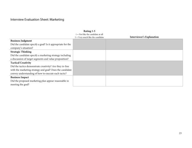 Interview Evaluation Sheet: Marketing Question