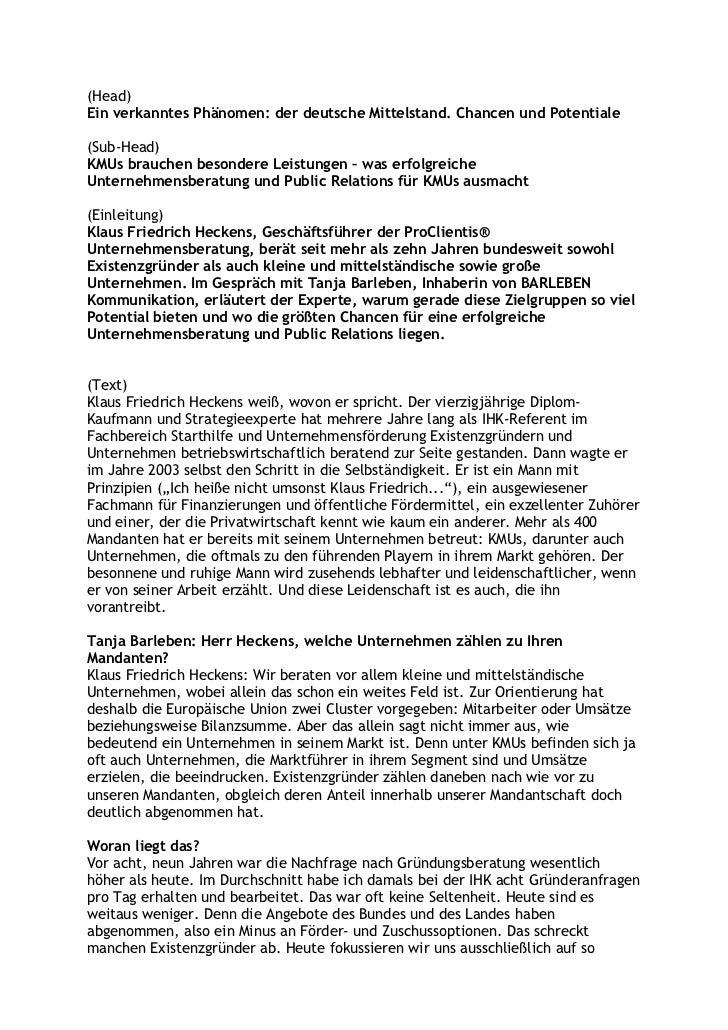 (Head)Ein verkanntes Phänomen: der deutsche Mittelstand. Chancen und Potentiale(Sub-Head)KMUs brauchen besondere Leistunge...