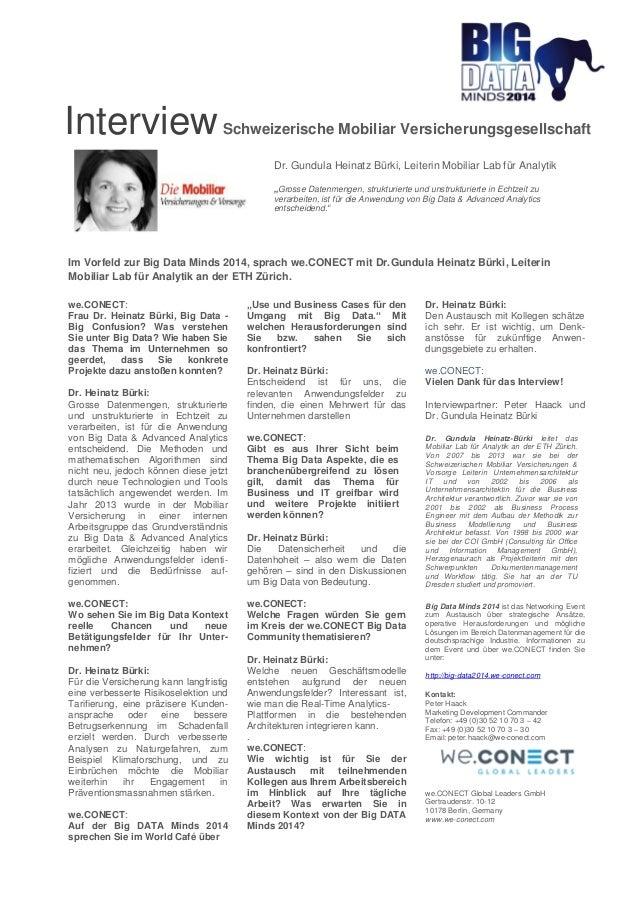 Interview Schweizerische Mobiliar Versicherungsgesellschaft  Dr. Gundula Heinatz Bürki, Leiterin Mobiliar Lab für Analytik...