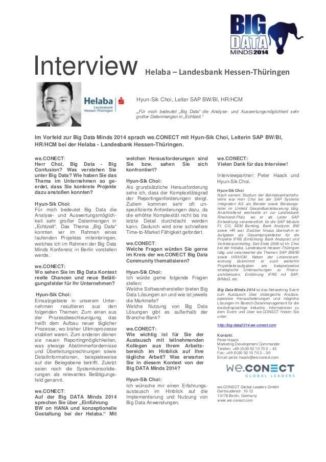 """Interview Helaba – Landesbank Hessen-Thüringen  Hyun-Sik Choi, Leiter SAP BW/BI, HR/HCM  """"Für mich bedeutet """"Big Data"""" die..."""
