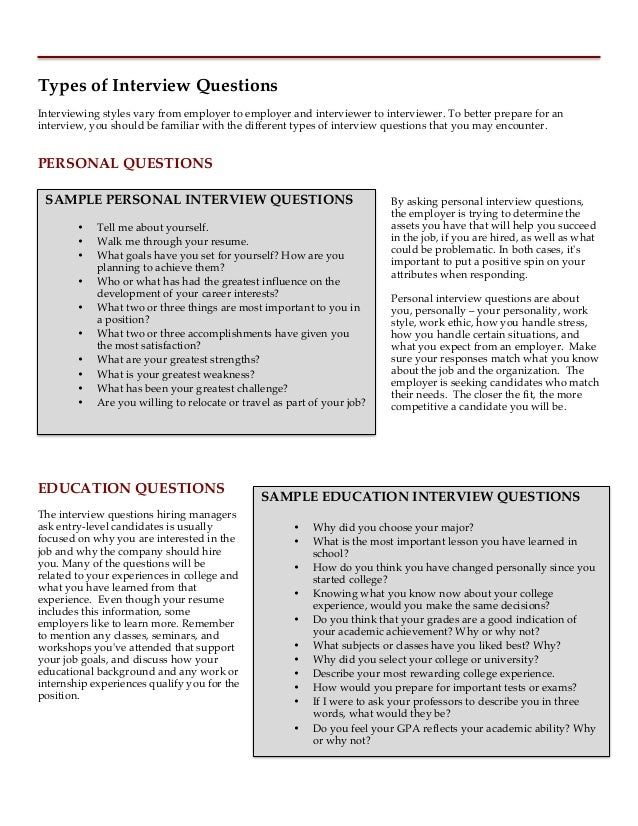 9. Types Of Interview Questions ...