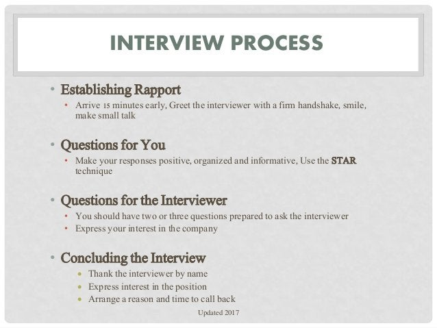 INTERVIEW PROCESS • Establishing Rapport • Arrive 15 minutes early, Greet the interviewer with a firm handshake, smile, ma...