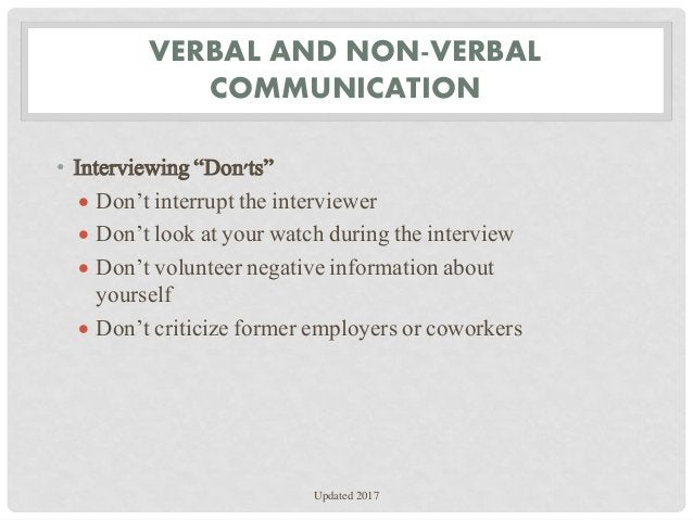 """VERBAL AND NON-VERBAL COMMUNICATION • Interviewing """"Don'ts""""  Don't interrupt the interviewer  Don't look at your watch d..."""