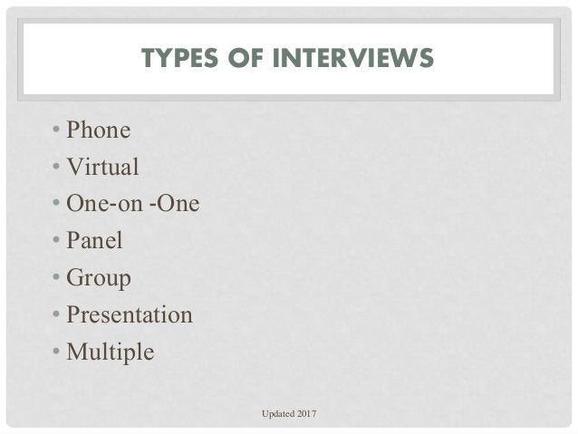 TYPES OF INTERVIEWS • Phone • Virtual • One-on -One • Panel • Group • Presentation • Multiple Updated 2017