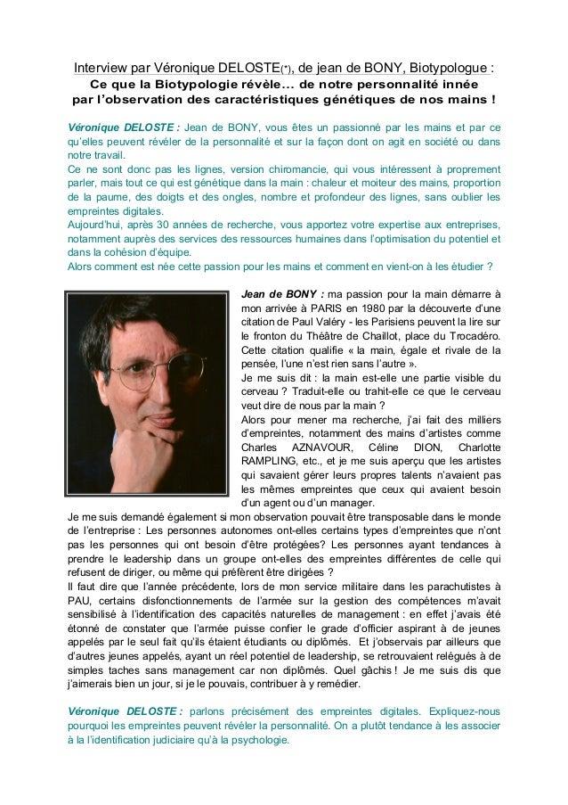 Interview par Véronique DELOSTE(*), de jean de BONY, Biotypologue : Ce que la Biotypologie révèle… de notre personnalité i...