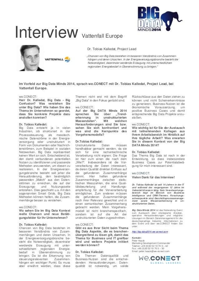"""Interview Vattenfall Europe  Dr. Tobias Kalledat, Project Lead  """"Chancen von Big Data bestehen im besseren Verständnis von..."""