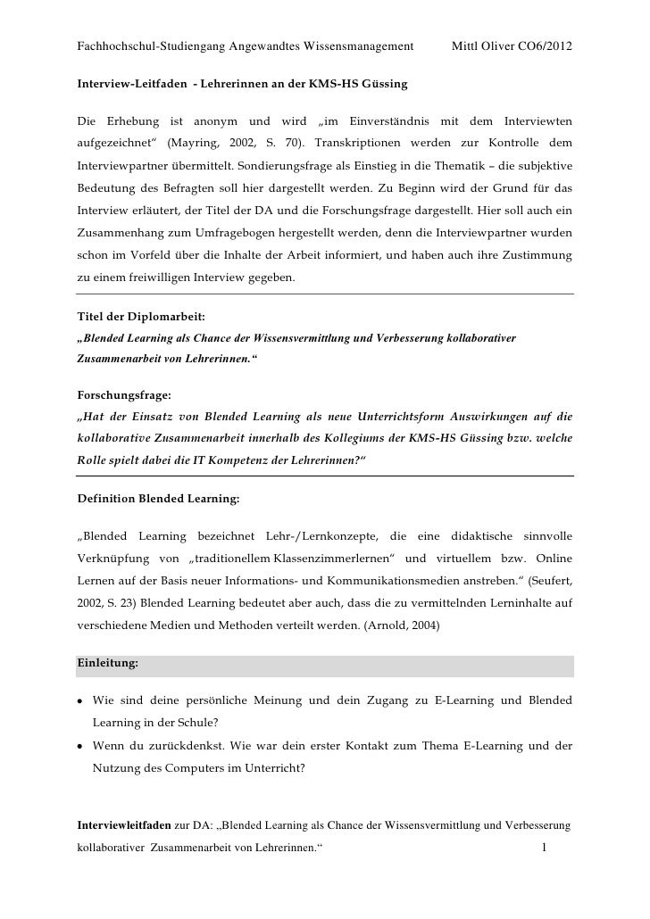 Fachhochschul-Studiengang Angewandtes Wissensmanagement                 Mittl Oliver CO6/2012Interview-Leitfaden - Lehreri...