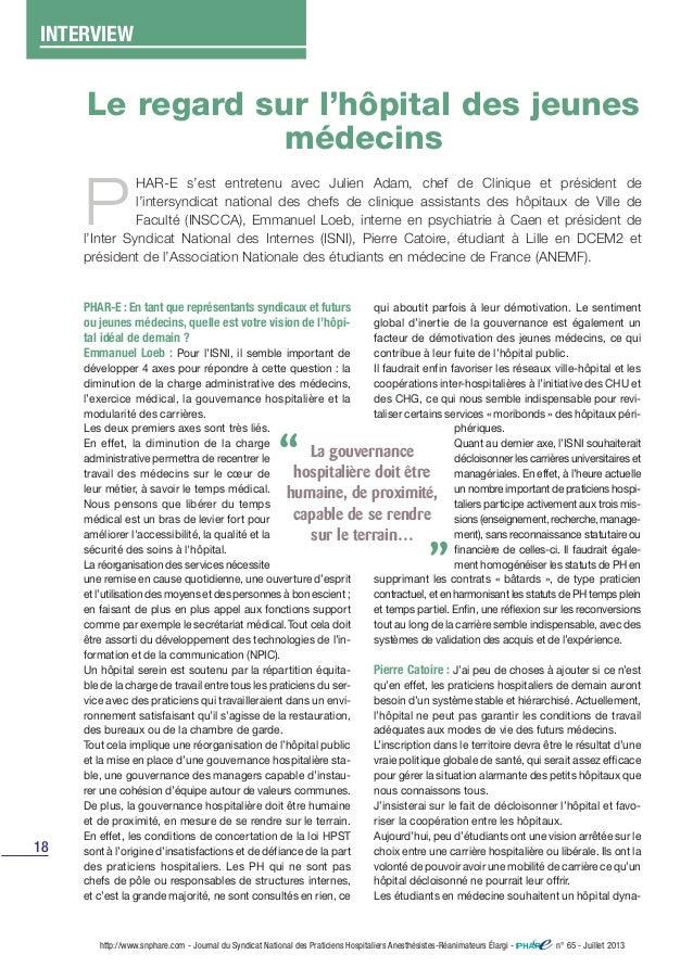 18 http://www.snphare.com - Journal du Syndicat National des Praticiens Hospitaliers Anesthésistes-Réanimateurs Élargi - n...
