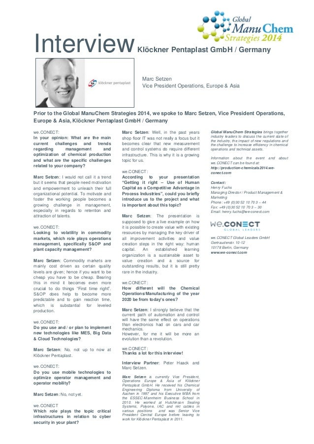 Interview  Klöckner Pentaplast GmbH / Germany  Marc Setzen Vice President Operations, Europe & Asia  Prior to the Global M...