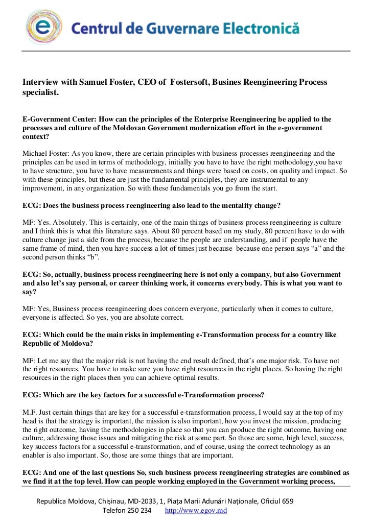 Interview with Samuel Foster, CEO of Fostersoft, Busines Reengineering Processspecialist.E-Government Center: How can the ...