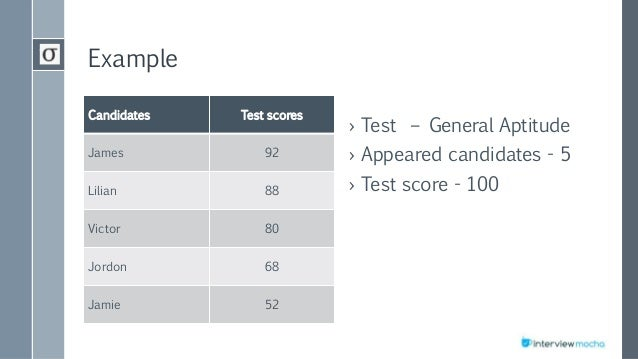 Example Candidates Test scores James 92 Lilian 88 Victor 80 Jordon 68 Jamie 52 › Test – General Aptitude › Appeared candid...