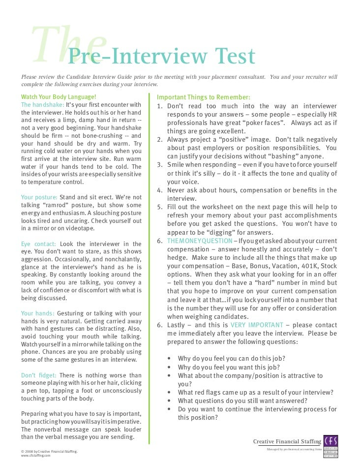 Perfect The Pre Interview TestPlease Review The Candidate Interview Guide Prior To  The Meeting With Your ...