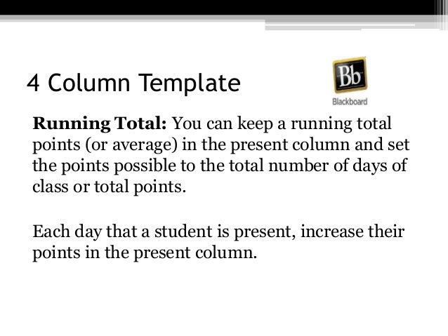 4 Column Template Running Total: You can keep a running total points (or average) in the present column and set the points...