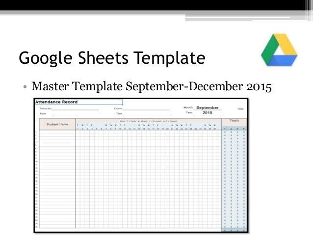 Google Sheets Template • Master Template September-December 2015