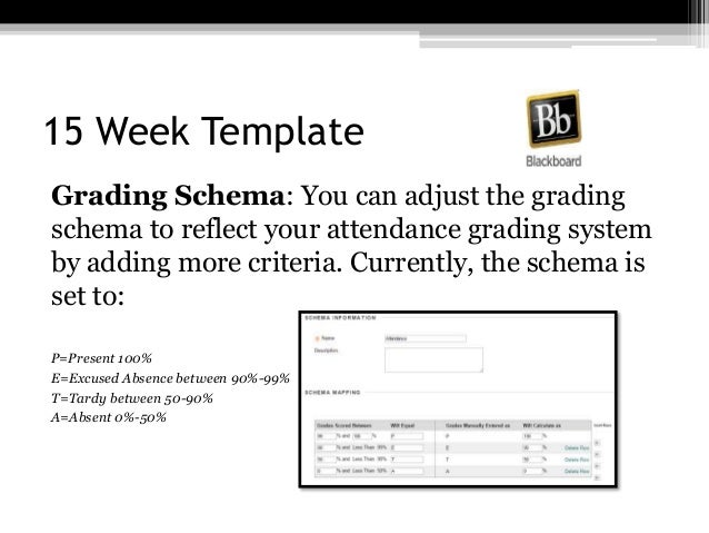 15 Week Template Grading Schema: You can adjust the grading schema to reflect your attendance grading system by adding mor...