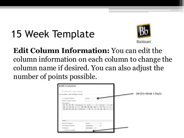 15 Week Template Edit Column Information: You can edit the column information on each column to change the column name if ...