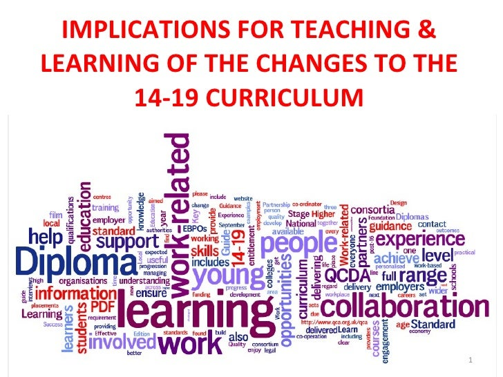 IMPLICATIONS FOR TEACHING & LEARNING OF THE CHANGES TO THE 14-19 CURRICULUM