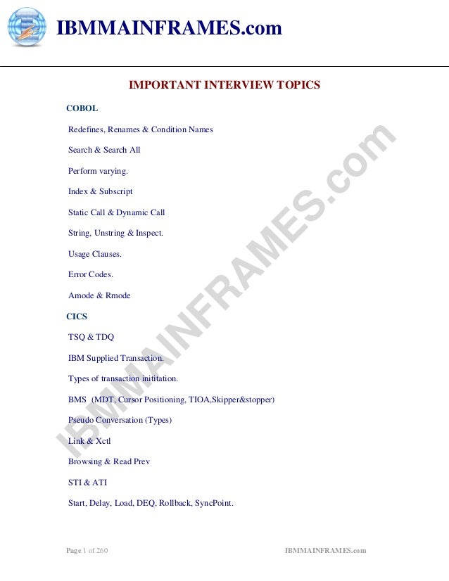 IBMMAINFRAMES.com                    IMPORTANT INTERVIEW TOPICS COBOL Redefines, Renames & Condition Names                ...
