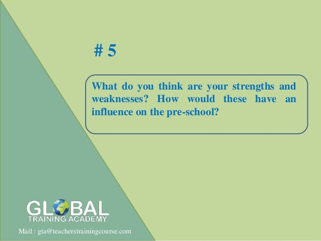 Interview question for nursery or primary school teachers