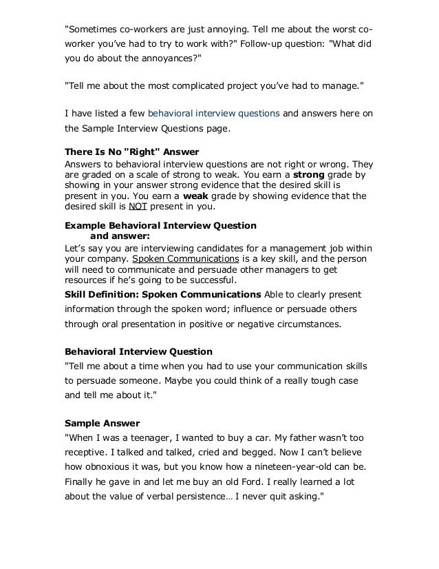 examples of behavioral based interview questions top behavioral