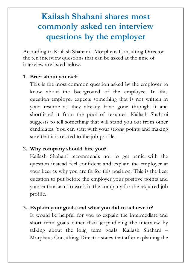 Kailash Shahani Shares Most Commonly Asked Ten Interview Questions By The  Employer According To Kailash Shahani Short Term Goals ...