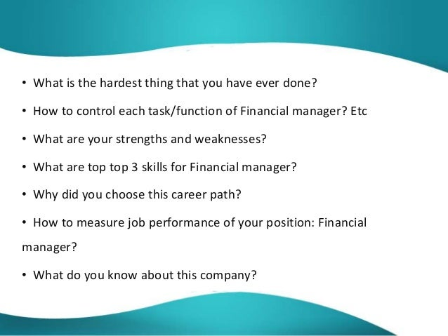 finance manager interview questions and answers pdf