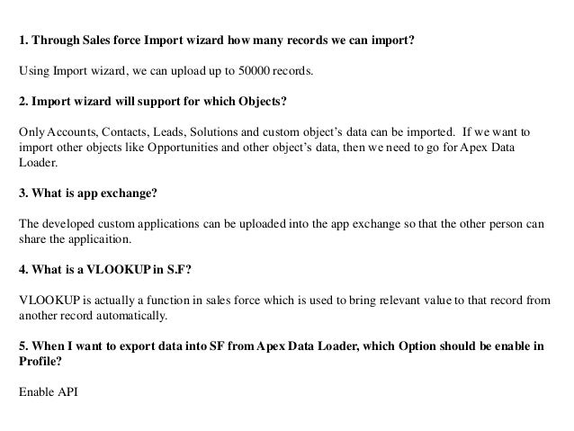 Interview questions and answers for salesforce developer