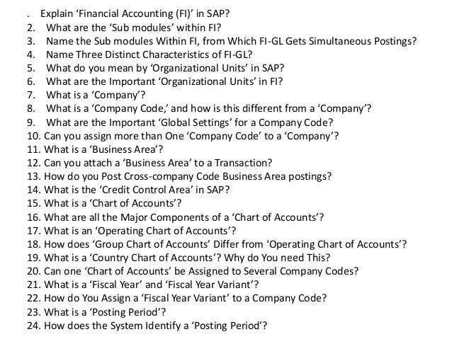 Interview questions and answers for sap financial accounting