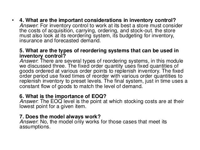 Interview questions answers inventory management