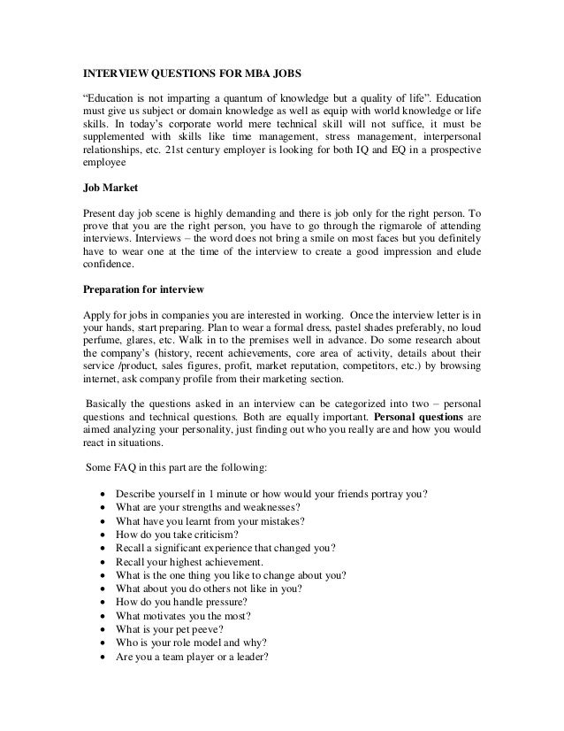 INTERVIEW QUESTIONS FOR MBA JOBSu201cEducation Is Not Imparting A Quantum Of  Knowledge But A ...