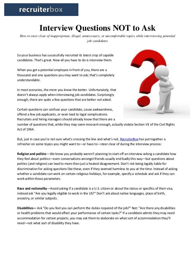 questions not to ask in an interview