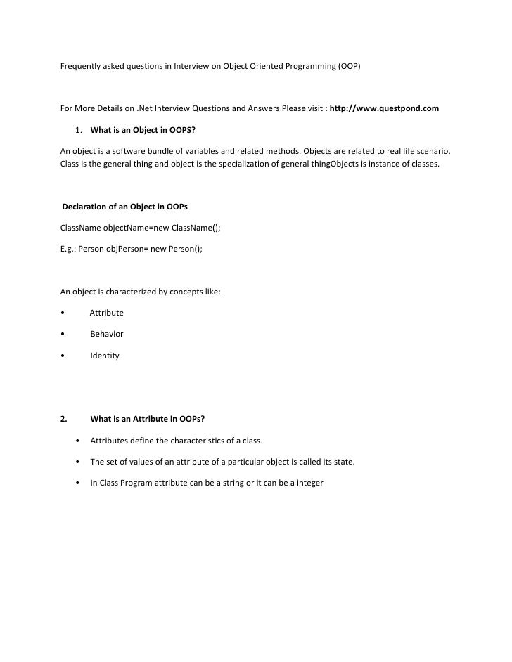 Frequently asked questions in Interview on Object Oriented Programming (OOP)For More Details on .Net Interview Questions a...